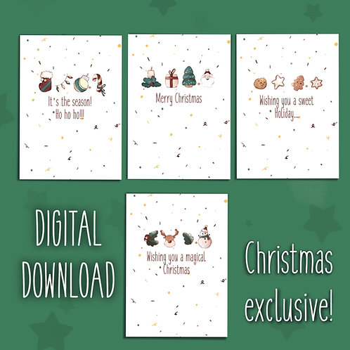 DIGITAL DOWNLOAD - Christmas Card- Bundle with the 4 cards | Greetings cards