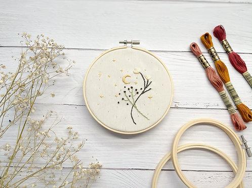 Moon Embroidery hoop art