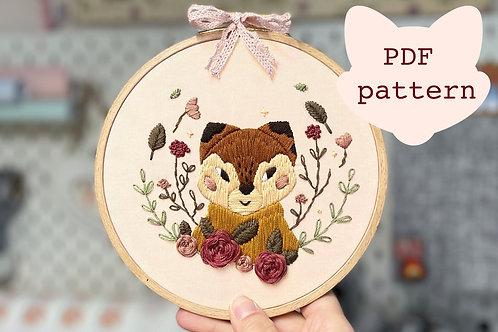 Fox Embroidery PDF Pattern