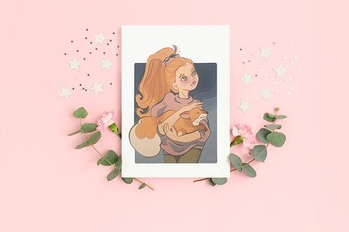 "Art print ""Girl and the fox"""