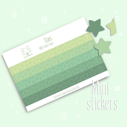 Green Rating Stars   Bullet Journal Stickers, Planner Stickers