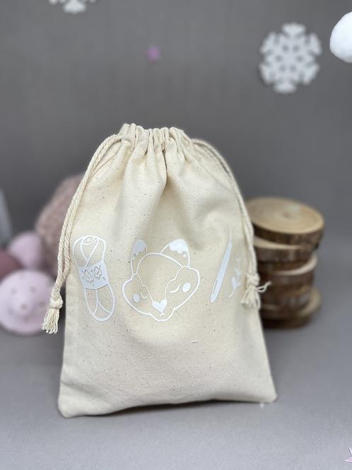 Cotton Bag| Project bag with White Crochet design