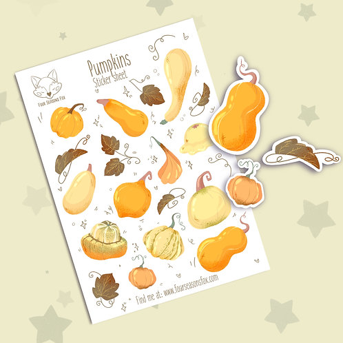 Pumpkins sticker sheet | Bullet Journal Stickers, Planner Stickers