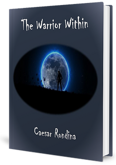 Picture of book cover. Picture of warrior standng on a mountqain top with he moon in te background.
