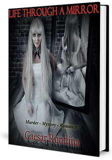 Picture of Book Cover Girl with bloddy knife behind her back seen in the rflection of a mirror.