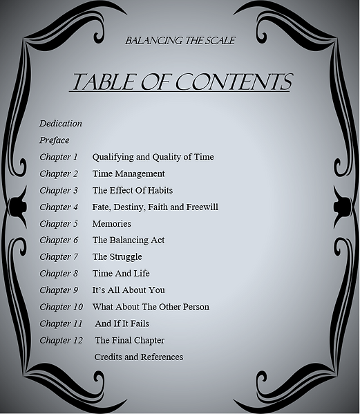 Table of Contents Balancing The Scale