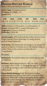 New kobold monster stat block for 5th edition Dungeons and Dragons
