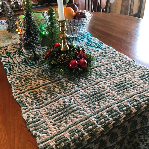 "Evergreen-20"" x 82"" Acrylic Worsted HandKnit Table Runner"