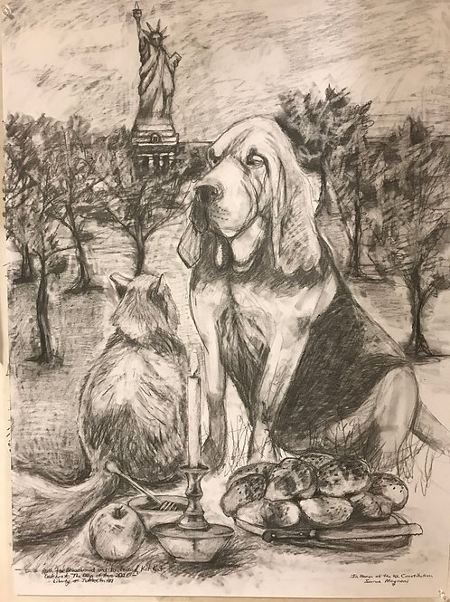 """""""Ruth the Bloodhound and her Friend, KitKat, Celebrate the Days of Awe.."""""""