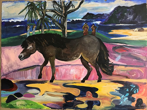 Riser the MiniHorse Visits a Painting by Gaugin