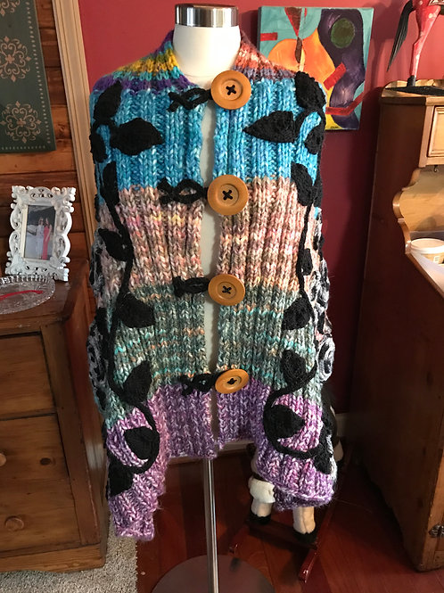 Whimsical Wrap-Two stitch Rib hand knitwith hand knitcord and embellishments