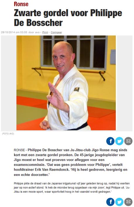 Zwarte gordel voor Philippe De Bosscher