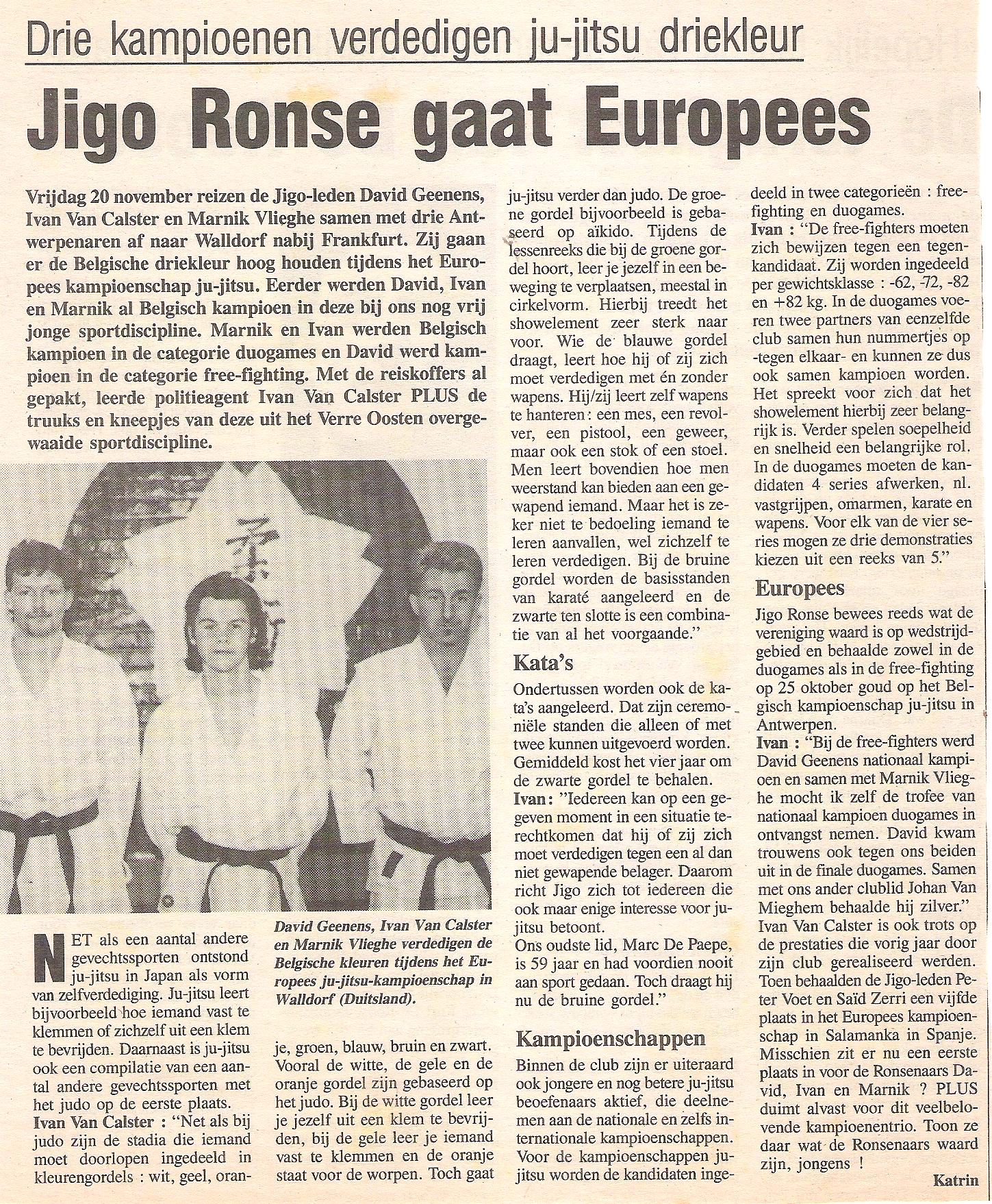 Jigo Ronse gaat Europees