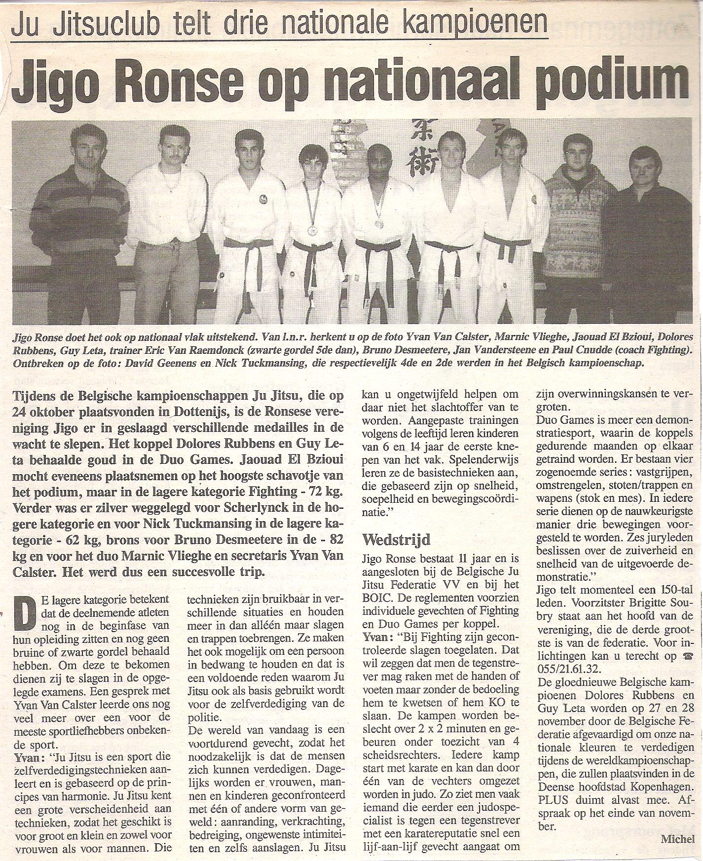 Jigo Ronse op nationaal podium