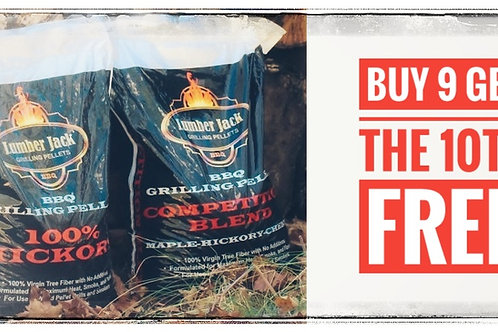 Buy 9 bags of Lumber Jack brand smoker pellets get the 10th free.
