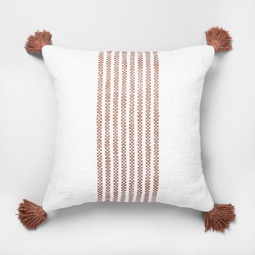 Rust Striped Pom Pillow