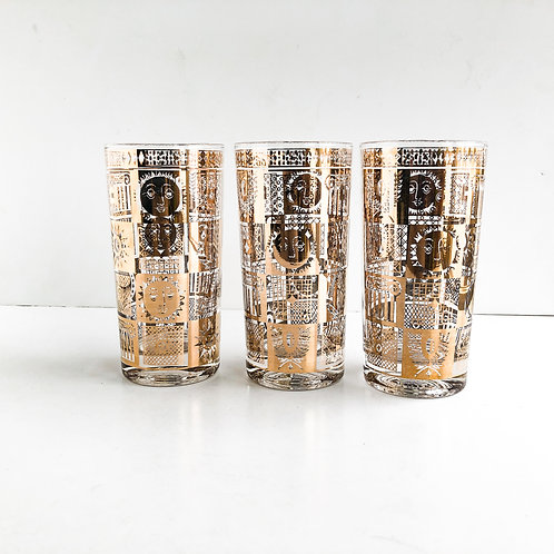 Gold Mid-Century Tumblers #54 - Set of 3