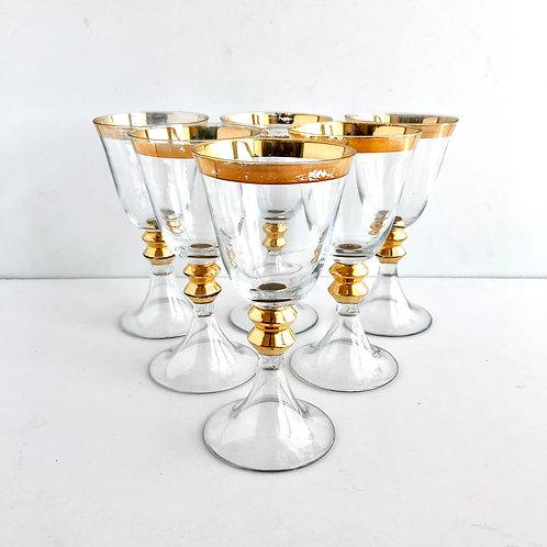 Gold Rimmed Wine Glasses No. 1 - Set of 6