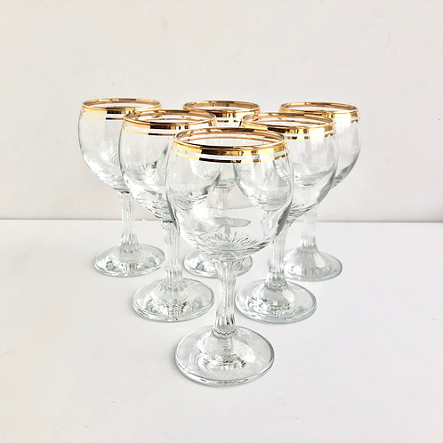 Gold Rimmed Coupes No. 12 - Set of 6