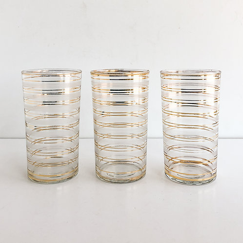 Gold Mid-Century Tumblers #22 - Set of 3