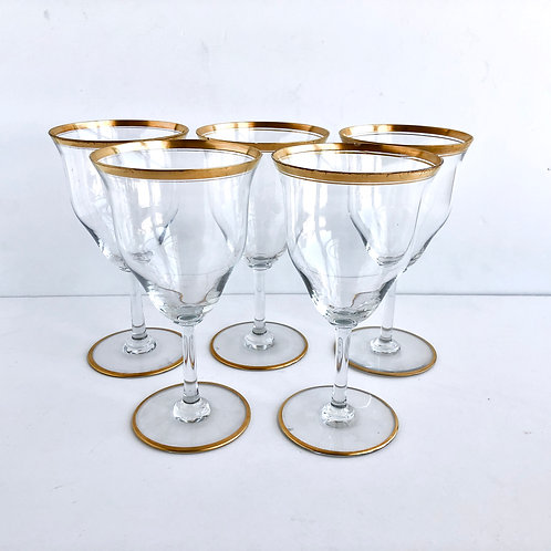 Gold Rimmed Wine Glasses #13 - Set of 5
