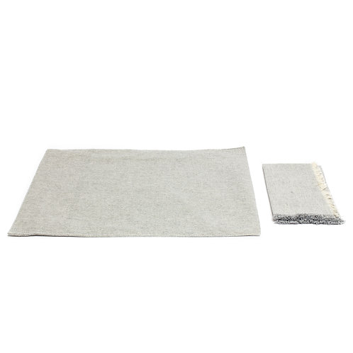 8 Gray Linen Placemats + 8 Fringed Napkins