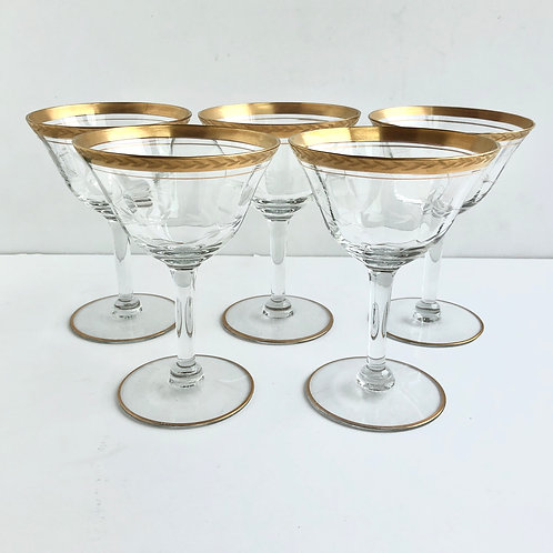 Gold Rimmed Coupes No. 6 - Set of 5