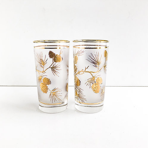 Set of 2 - Gold Mid-Century Tumblers #58