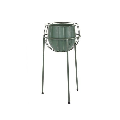 Modern Green Caged Plant Stand