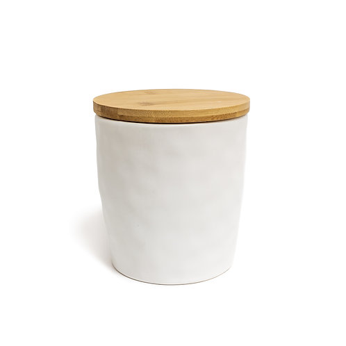 Large Wood Top White Canisters - Set of 2