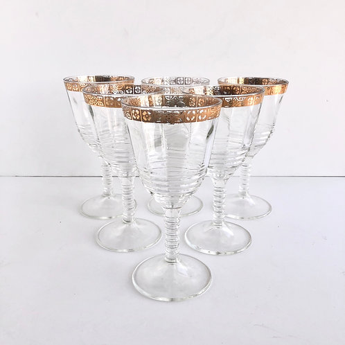 Gold Rimmed Wine Glasses No. 4 - Set of 6