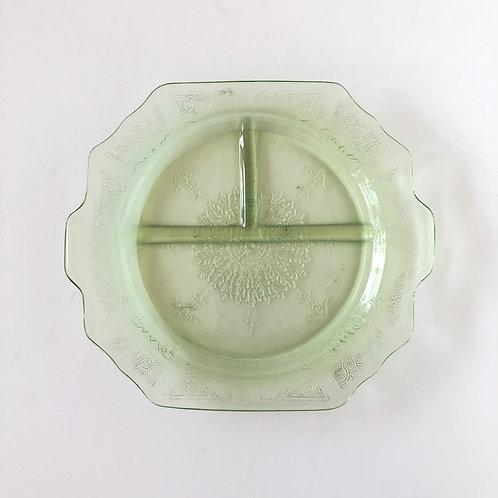 Green Depression Glass Plate No. 1 | Set of 4