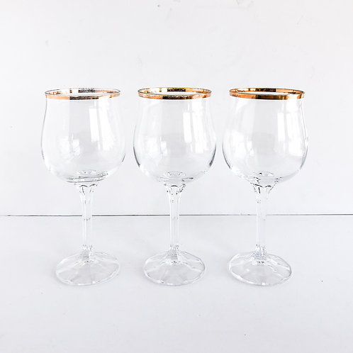 Gold Rimmed Wine Glasses #22 - Set of 3