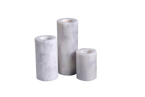 Marble Cylinder Candleholders - Set of 3