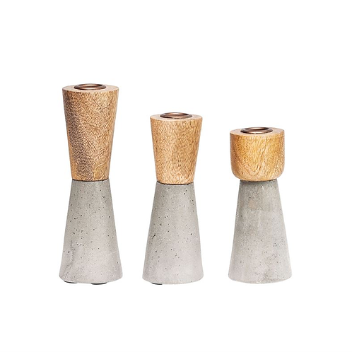 Cement & Wood Candleholders - Set of 3