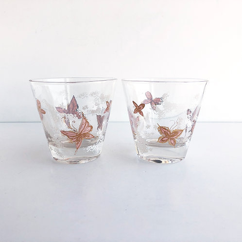 Multi-Colored Mid-Century Lowball #16 - Set of 2