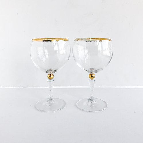 Gold Rimmed Wine Glasses #21 - Set of 2