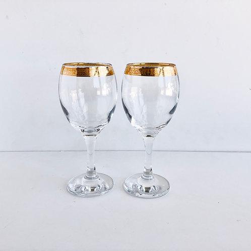 Gold Rimmed Wine Glasses #19 - Set of 2