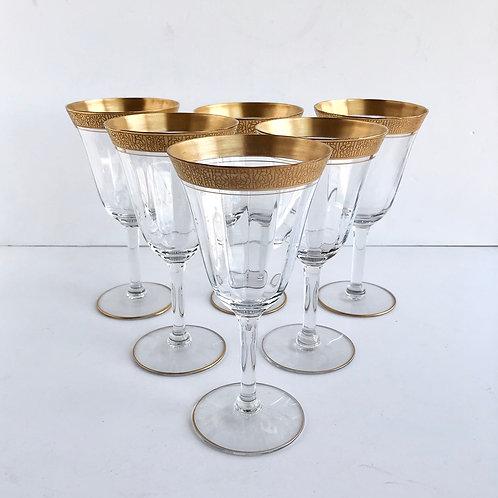 Gold Rimmed Wine Glasses No. 7 - Set of 6