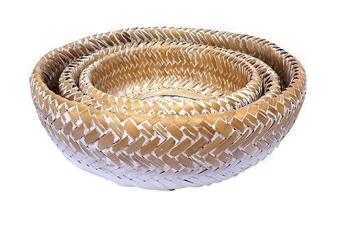 Whitewashed Bamboo Bowls - Set of 3