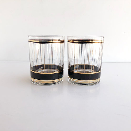 Multi-Colored Mid-Century Lowball #25 - Set of 2