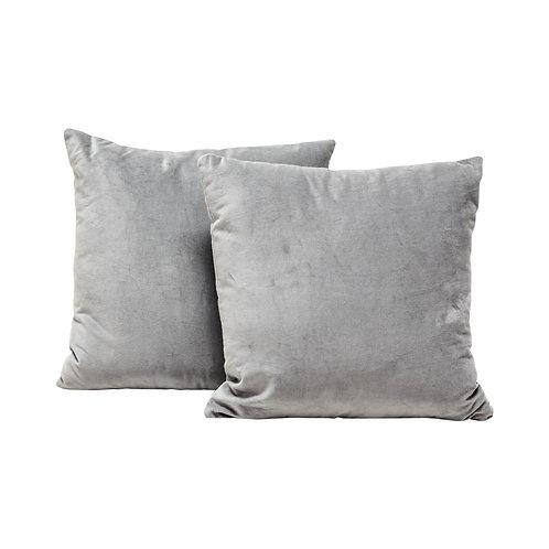 Pale Gray Velvet Pillows - Set of 2