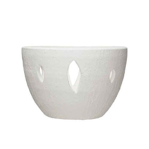 Large White Terracotta Cut-Out Bowl