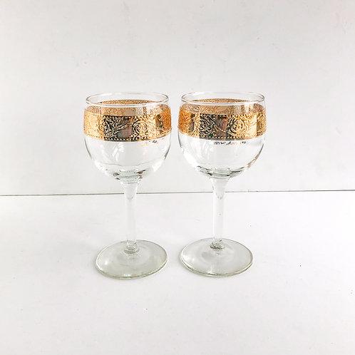 Gold Rimmed Wine Glasses #27 - Set of 2