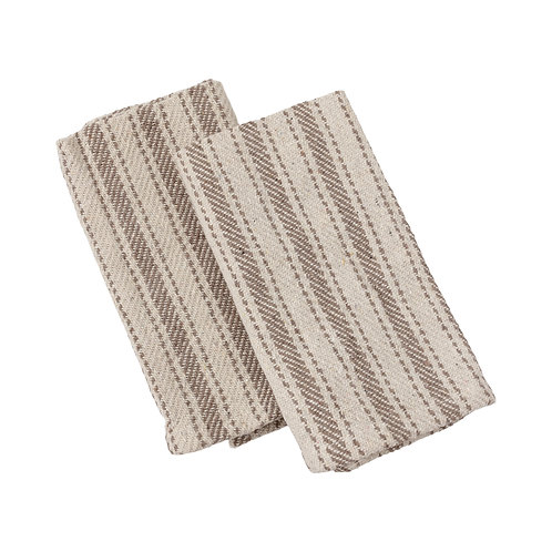 Set of 3 Gray Multi-Striped Kitchen Towels