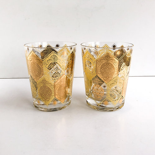 Gold Mid-Century Lowballs #33 - Set of 2