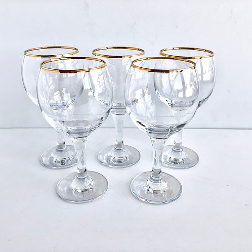 Gold Rimmed Wine Glasses No. 8 - Set of 6