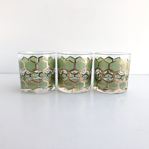 Multi-Colored Mid-Century Lowball #23 - Set of 3