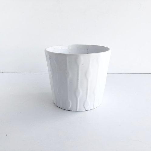 Medium White Glazed Pots #1 - Set of 2