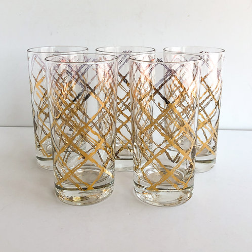 Gold Mid-Century Tumblers #21 - Set of 5